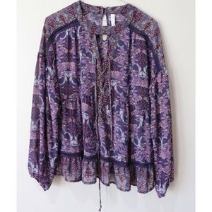 Floral Lace Up Tiered Long Sleeve Blouse